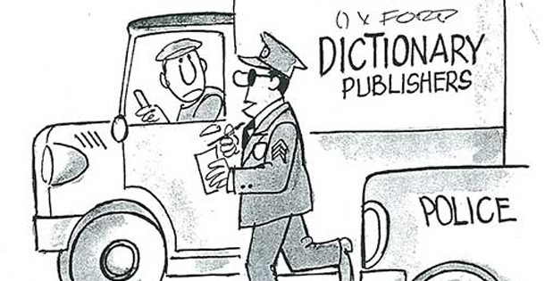 Policeman walks up to a truck delivering dictionaries.