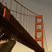 Shark eating the Golden Gate Bridge