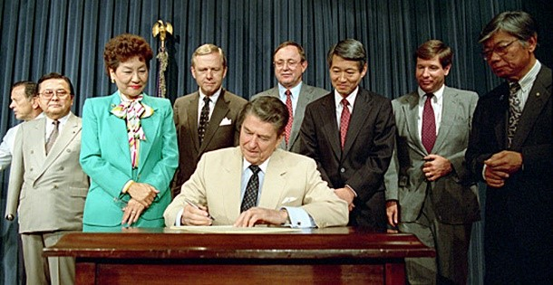 President Ronald Reagan signing the Civil Rights Act of 1988