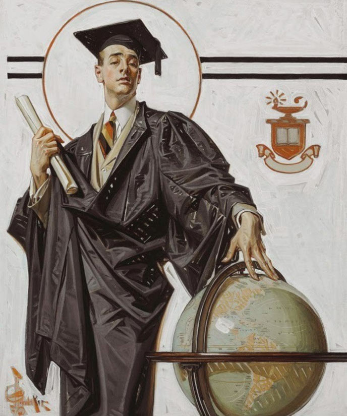 A college graduate with diploma and globe