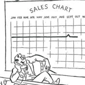 Man looking at sales chart
