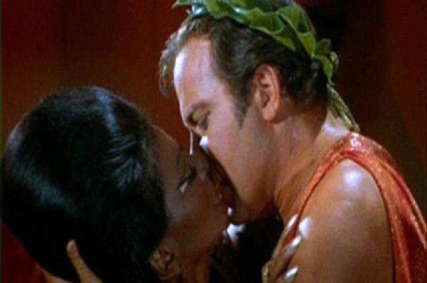 Captain Kirk and Lt. Uhura kiss