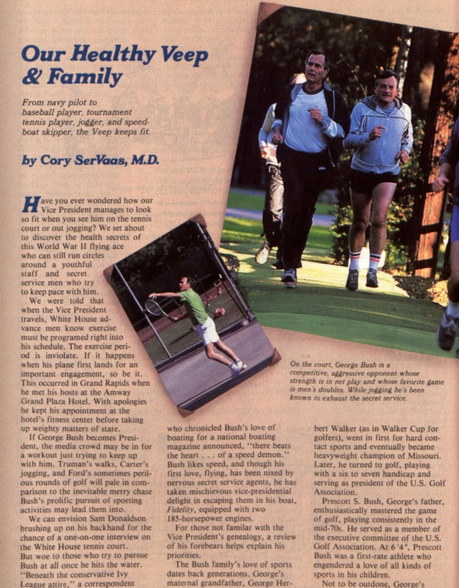 "First page of the article, ""Our Healthy Veep and Family"""