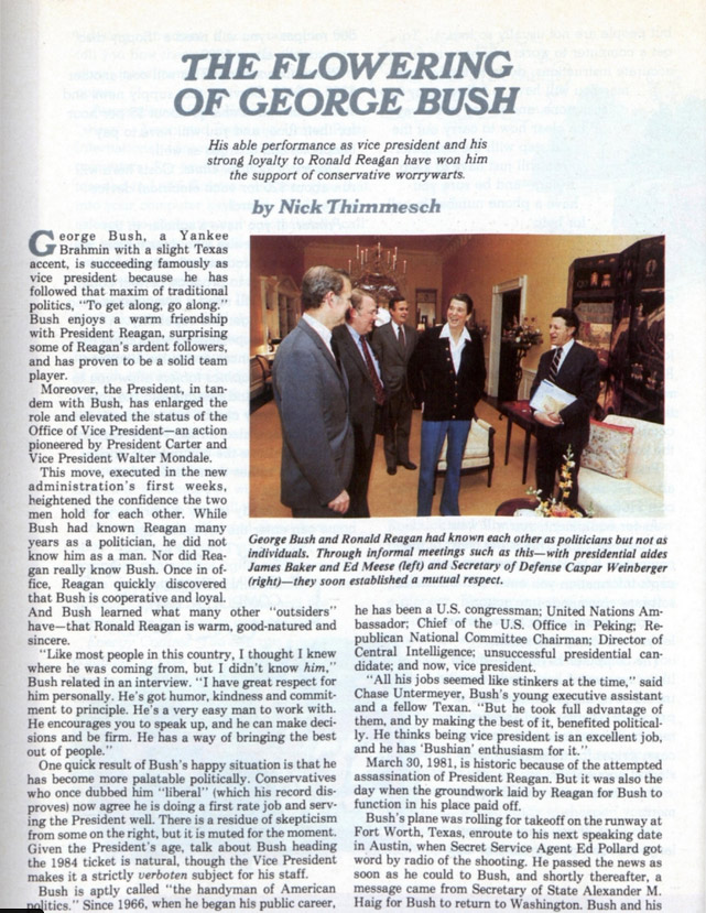"First page of the article, ""The Flowering of George Bush"""