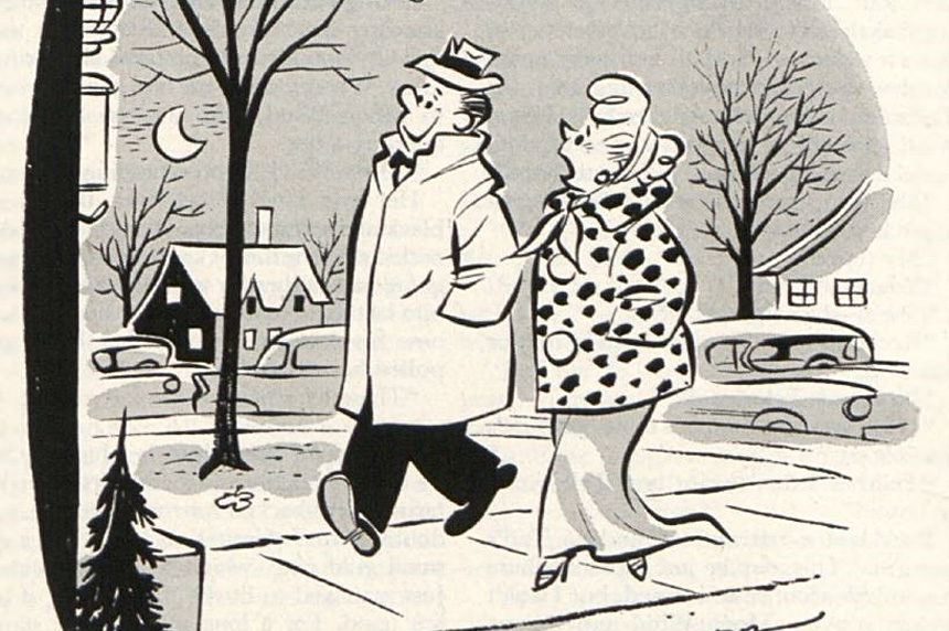 A couple walk through a neighborhood to a New Year's Eve party.