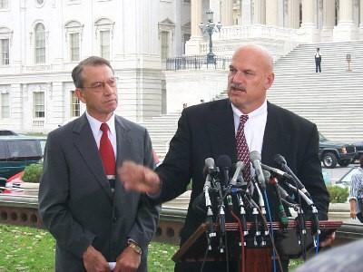 Senator Chuck Grasseley and Jesse Ventura in front of the U.S. Capitol