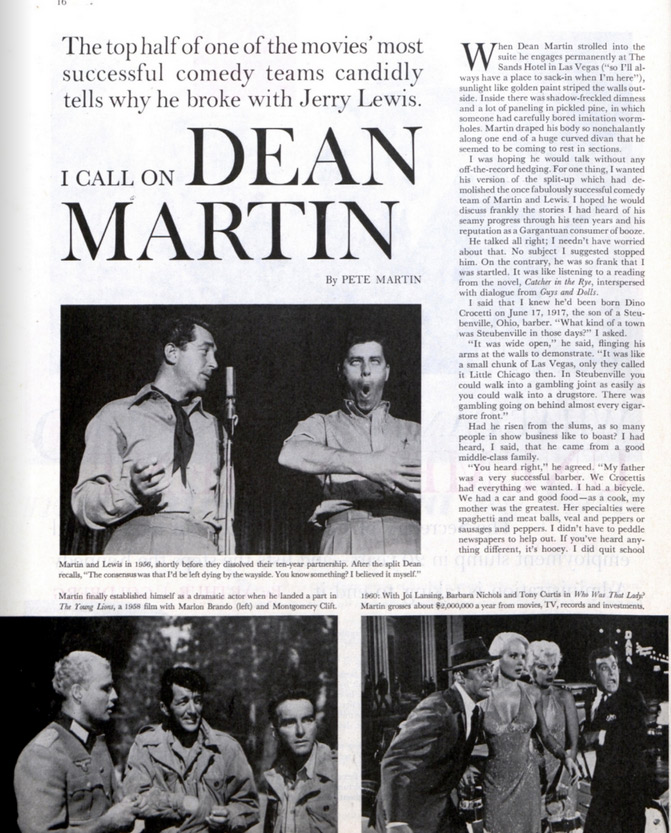 "The first page of the article, ""I Call on Dean Martin"" as it appeared in the Saturday Evening Post"