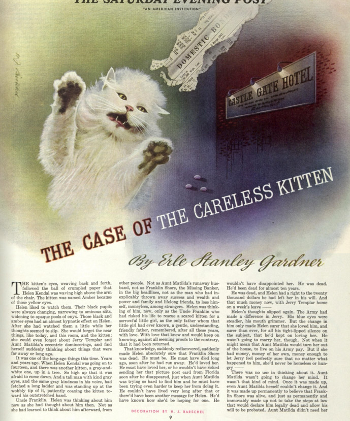 "First page of the story, ""The Case of the Careless Kitten"""