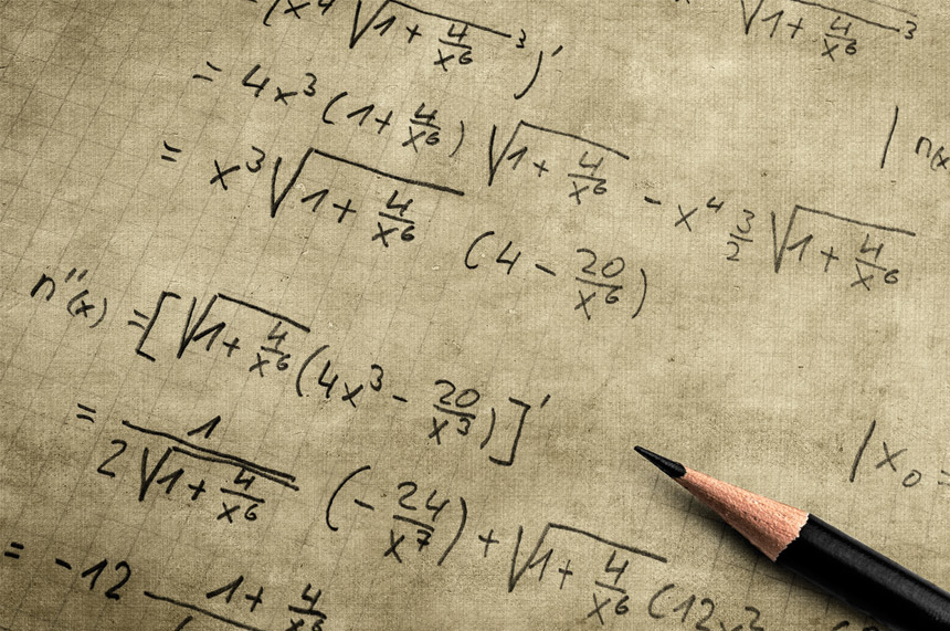 Piece of paper with algebra equations