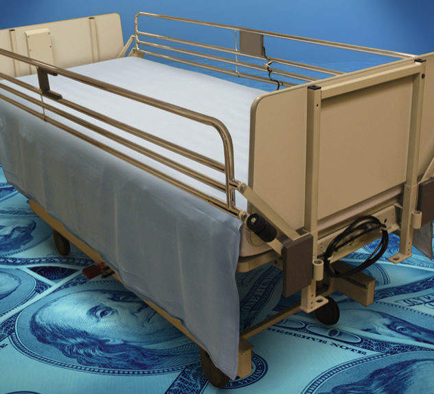 A hospital bed on a carpet of $100 dollar bills.