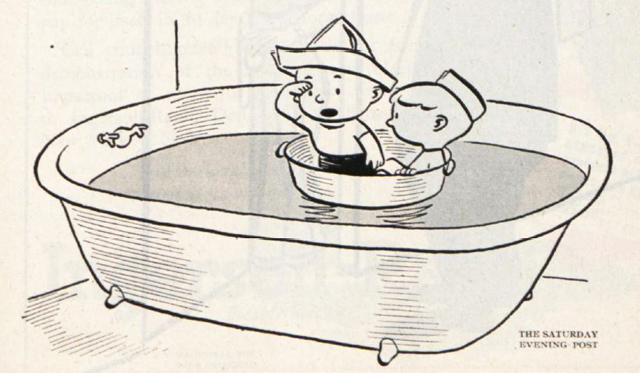 Two boys in a sauce pan float in a filled bathtub, acting like explorers at sea,