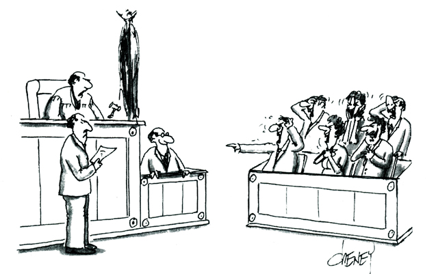 Jury laughing at a defendant's joke on the witness stand