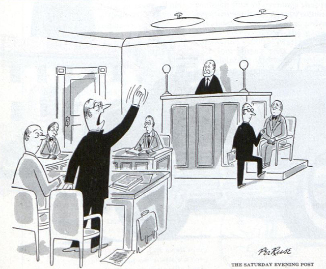Lawyer raises an objection during a cross-examination.