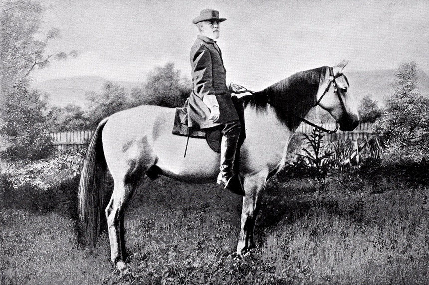 Confederate general Robert E. Lee on his horse, Traveller