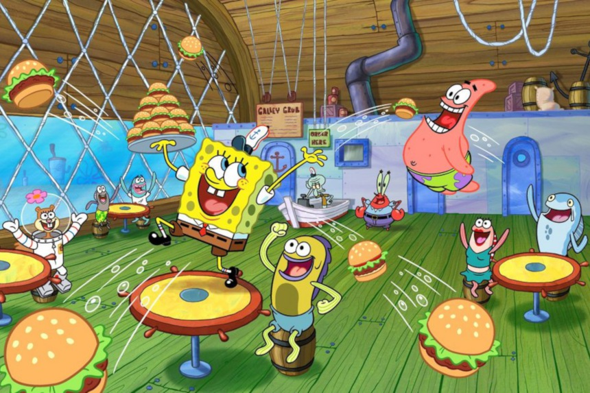 SpongeBob dancing in the Crusty Crab