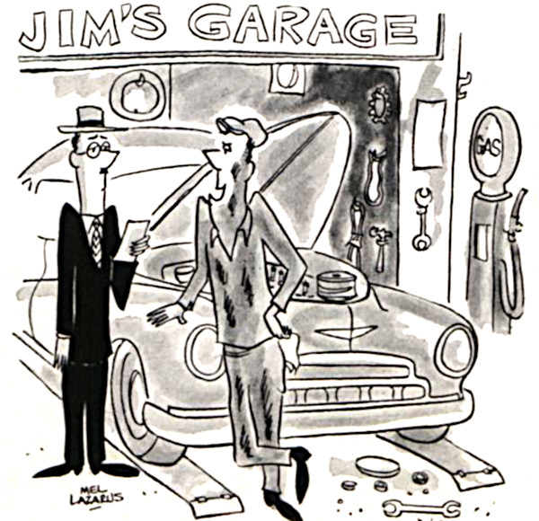 Mechanic talking to a car owner in his garage.