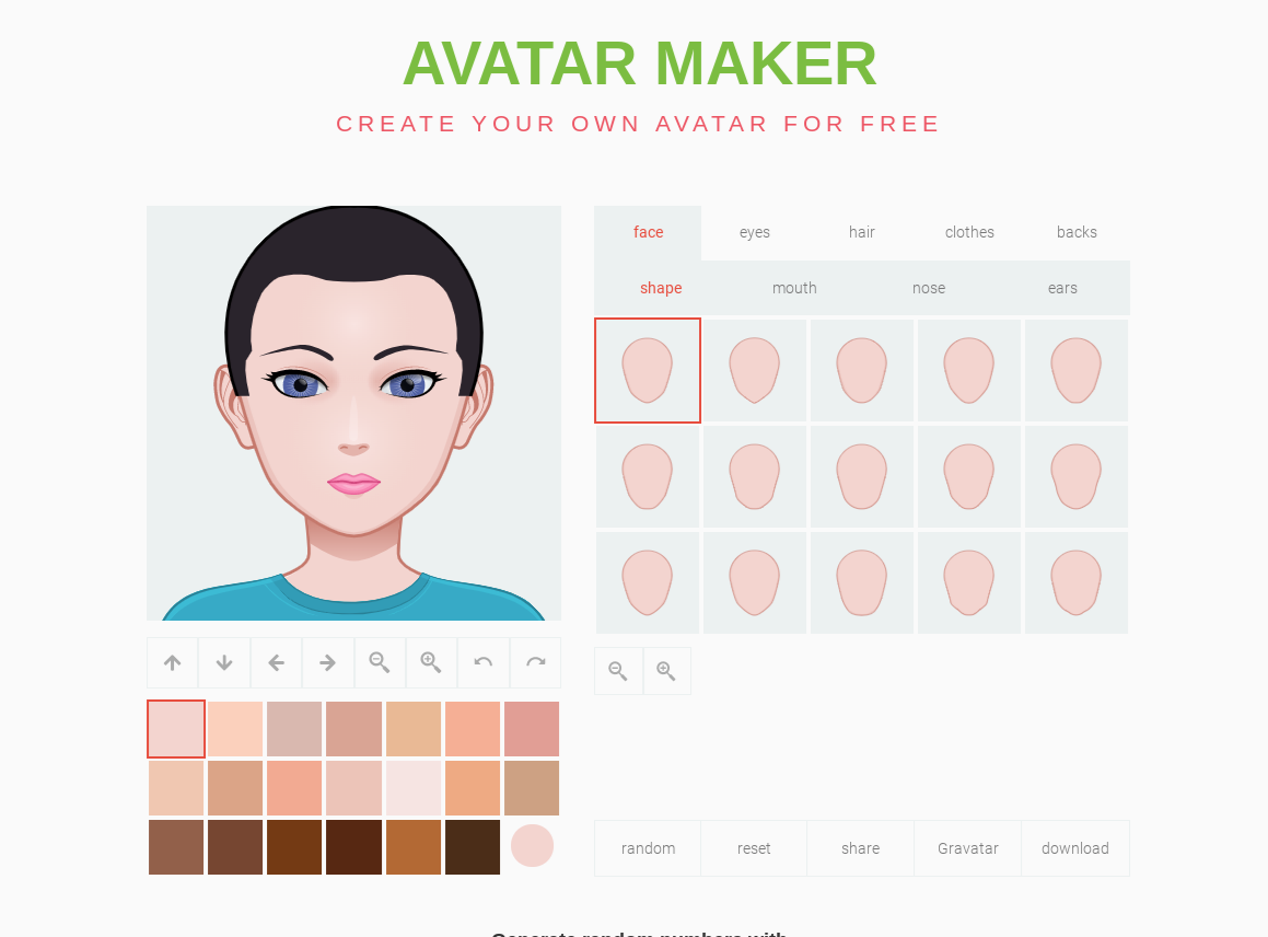 Screen capture of the avatar creation page on avatarmaker.com. A cartoon head is being edited, with a selection of face shapes and skin color swatches.