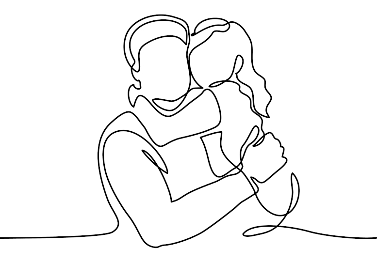 Line art of a father and daughter hugging