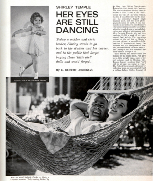 """The first page of the article, """"Shirley Temple: Her Eyes Are Still Dancing,"""" by C. Robert Jennings. This links to the full article."""