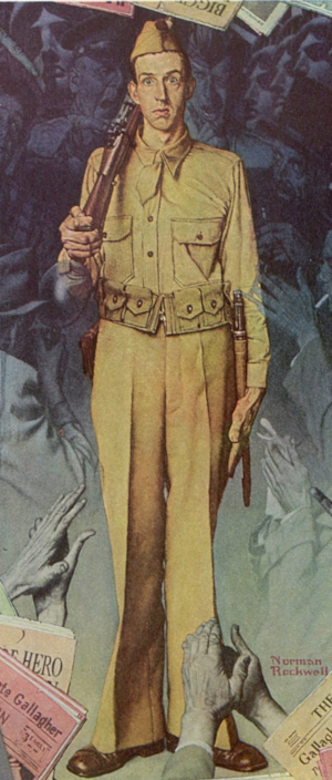 Illustration of a World War II American G.I., by Norman Rockwell