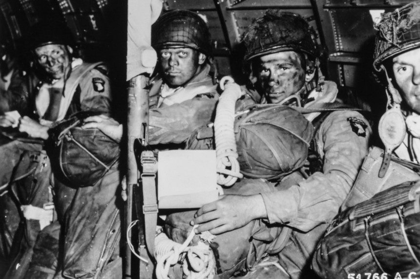 U.S Army paratroopers before they leapt off an airborne plane.