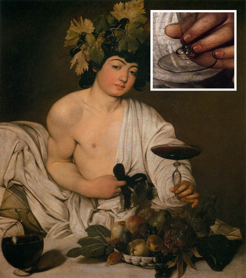 "Caravaggio's ""Bacchus"", with a close-up of the Greek's god's hand to show the detail of his dirty fingernails."