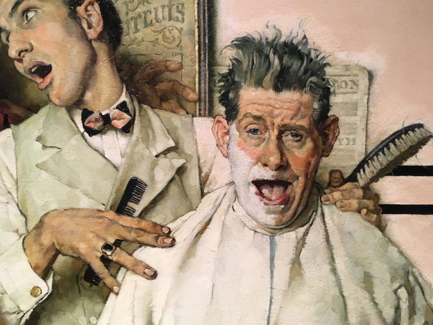 Detail of the hands and faces of Norman Rockwell's barbershop quartet.
