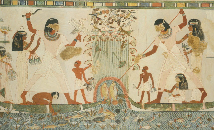 An ancient Egyptian painting depicting a family and their servants fishing in a marsh.