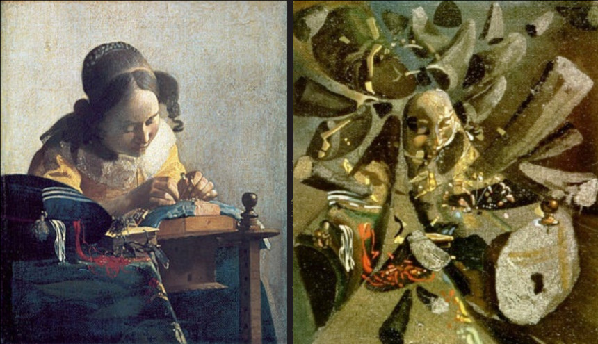 This image shows how Dali created a painting based on one of Vermeer's work.