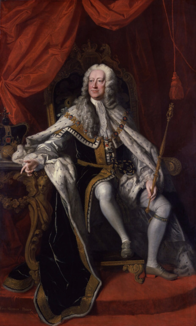 Portrait of King George II, sitting on a chair.