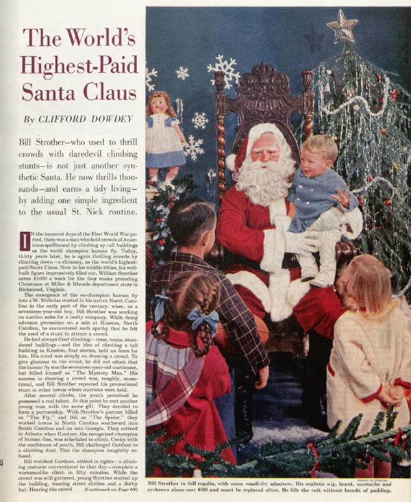 "The first page of the Saturday Evening Post article, ""The World's Highest Paid Santa Claus."""