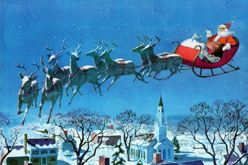 Santa and his sleigh being pulled by his eight reindeer.