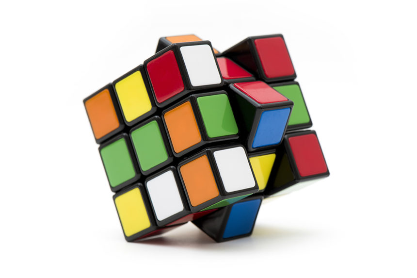 Photo of a twisted Rubik's Cube.