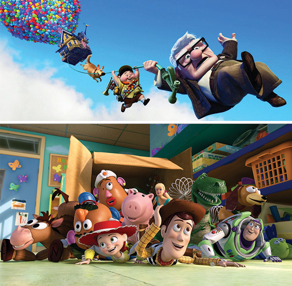 Scenes from the Pixar animated films Up and Toy Story.