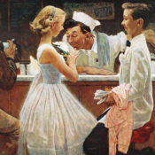 A soda jerk smells a teenager's corsage as she and her date get a drink of cola at the drugstore, following their high school prom.
