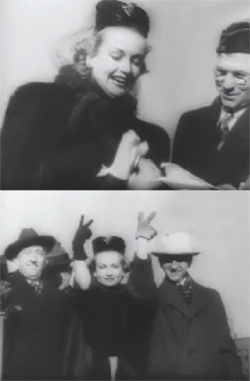 Two photos of Carole Lombard and Clark Gable in Indianapolis.