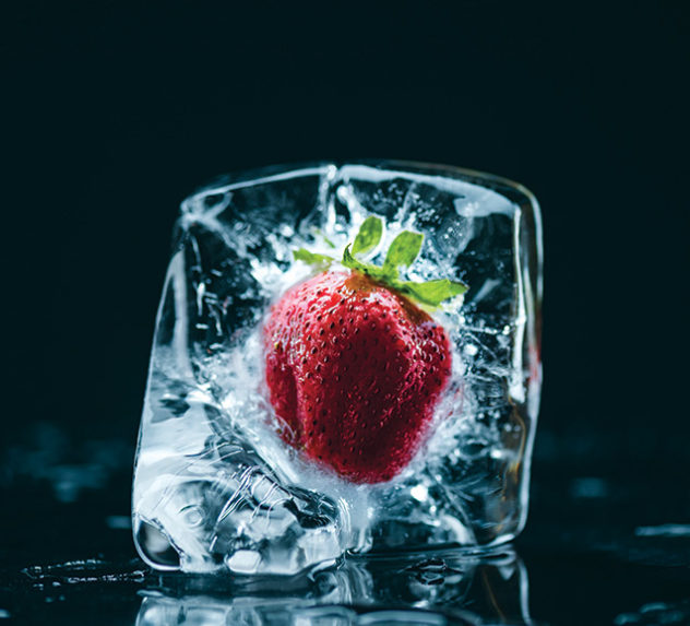 A frozen strawberry