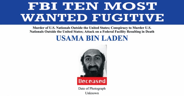 Osama Bin Laden's FBI Most Wanted poster