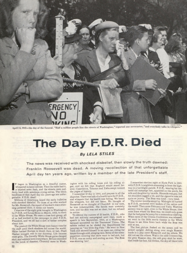 The first page of the Saturday EVening Post article, The Day FDR died.
