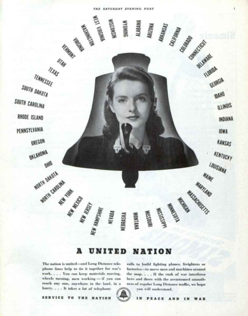 A World War II-era phone ad from Bell. Features a phone operator framed in a liberty bell.