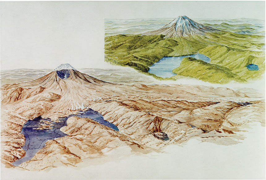 Artist conception of what Mount St. Helens looked like before it erupted, and afterwards.