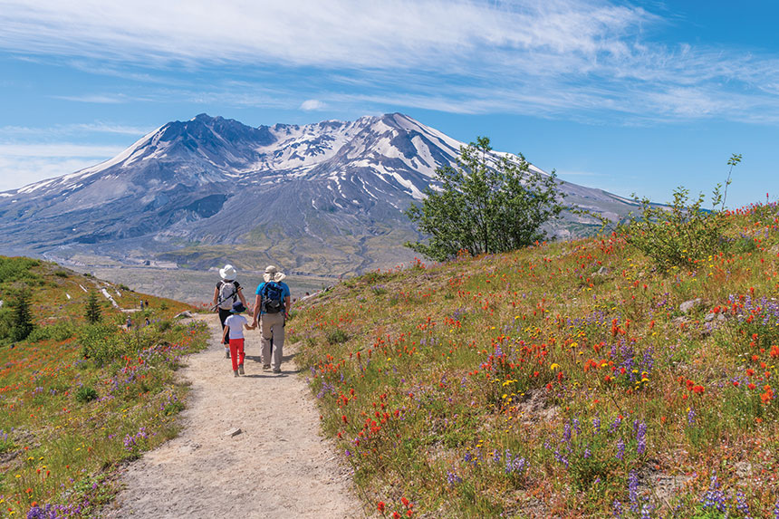 Family hiking in the shadow of Mount St. Helens