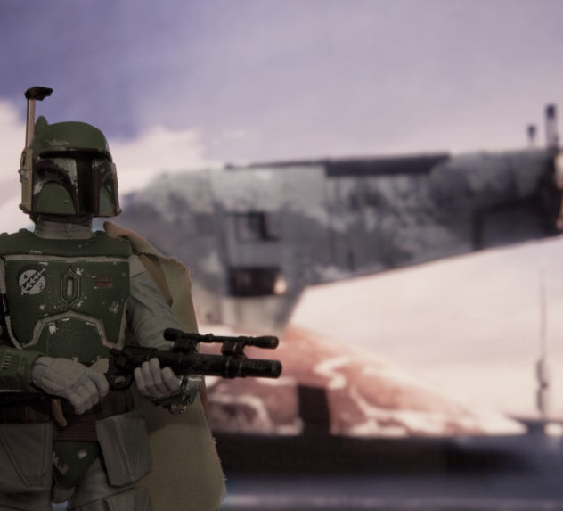 A scene from the Empire Strikes Back, reenacted with action figures