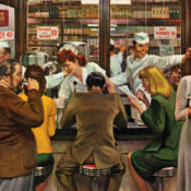 People ordering food and eating at a lunch counter.