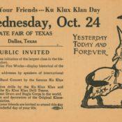 Flyer advertising the Ku Klux Klan