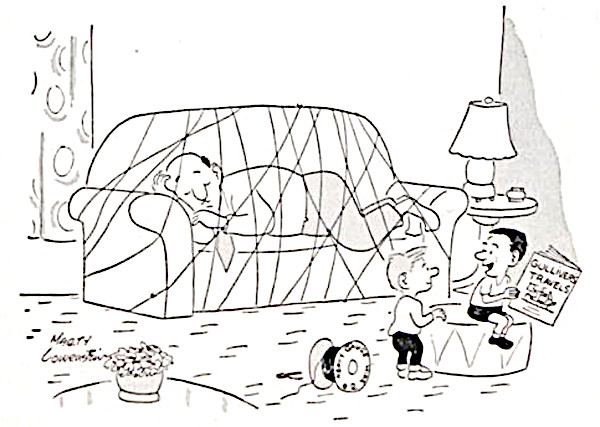 Kids tie down their dad like the giant from Gulliver's Travels