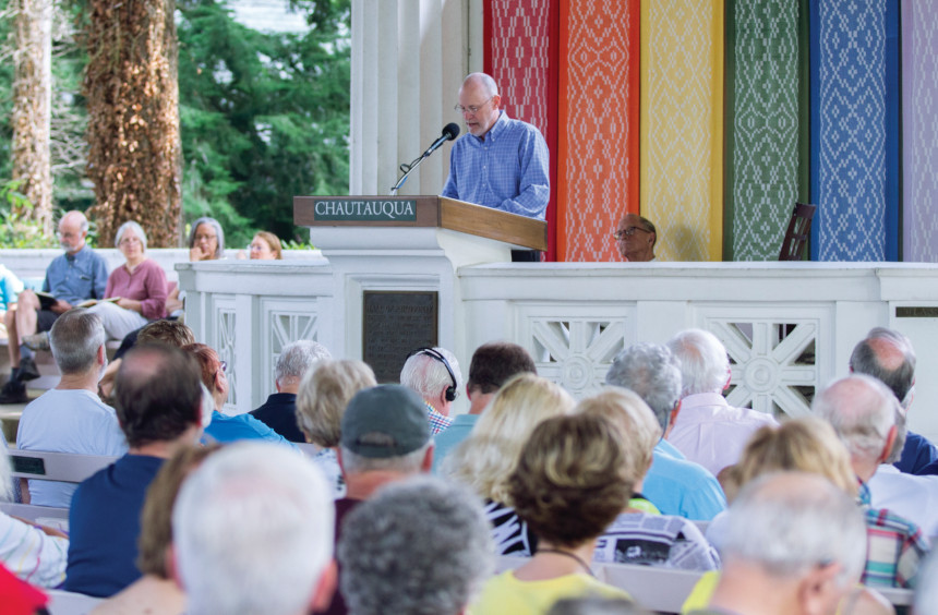 Author Philip Gulley speaks to a crowd at Chautauqua