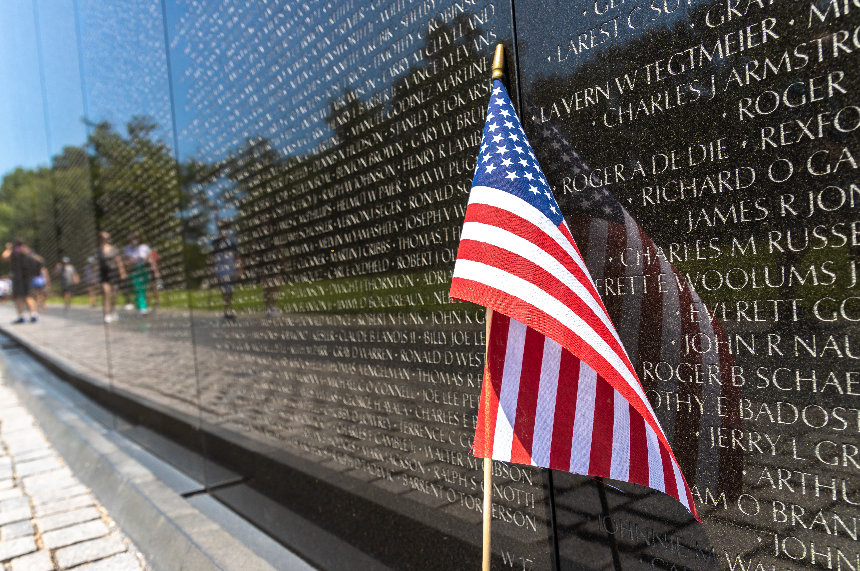 American flag on the Vietnam War Memorial