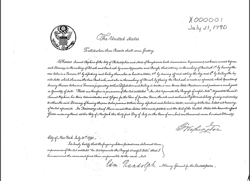 Handwritten patent granted by the United States