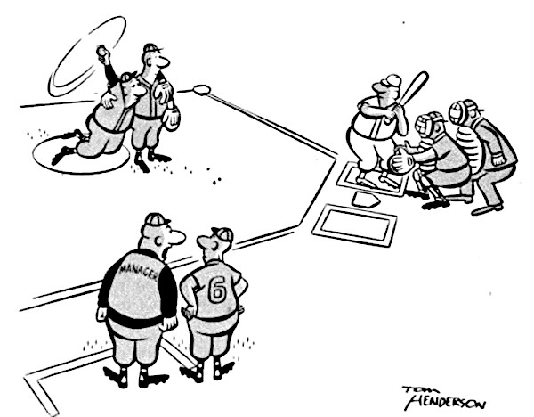 A baseball cartoon, where a tired pitcher is being propped up by a teammate.